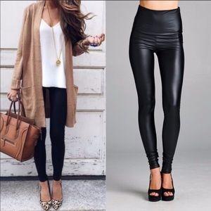 Pants - Faux Leather High Waist Leggings Tummy Control